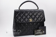 CHANEL Black Caviar Quilted Jumbo Kelly Flap Bag Gold Hw #7566399