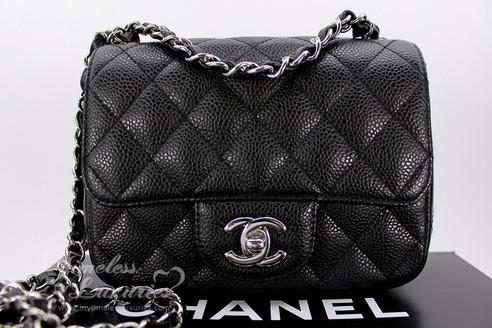 7dc93cab2ce5 ... CHANEL Black Caviar Mini Classic Flap Bag Silver Hw #13048867. Image 1