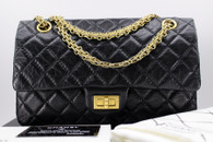 CHANEL Black Aged Calf 2.55 Reissue 225 Flap Bag Gold Hw #16901937