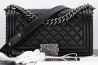CHANEL Black Metallic Calfskin Boy Flap Ruthenium Hw #19722629 *New