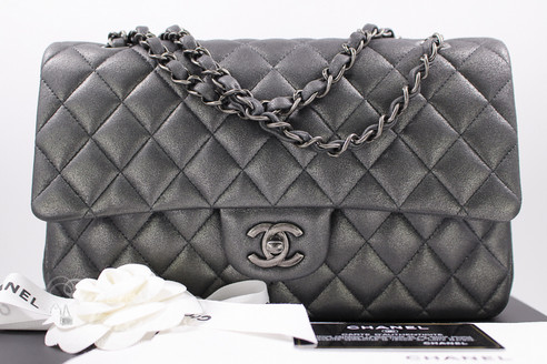 a34a40a78a0c CHANEL 14B Charcoal Grey Metallic Goatskin Classic Double Flap Bag ...