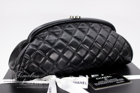 f415de00d43e ... CHANEL Black Lambskin Timeless Clutch Bag Silver Hw #10899255. Image 1