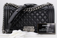 CHANEL Black Lambskin Quilted Boy Flap Bag Ruthenium Hw #20729178