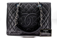 CHANEL Black Caviar Grand Shopping Tote GST Silver Hw #18996565 *New