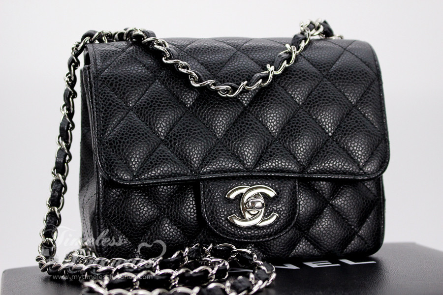 791050bb1ded CHANEL Black Caviar Mini Classic Flap Bag Silver Hw #12025002 - Timeless  Luxuries