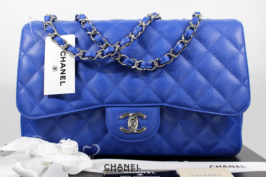 ab9027664159 CHANEL Bleu Roi Caviar Jumbo Classic Single Flap Silver Hw  13225652  New -  Timeless Luxuries
