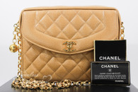 CHANEL Beige Caviar Vintage Sac Camera Bag Gold Bijoux Chain #3005896