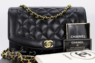 CHANEL Black Caviar 'Vintage Chic' Diana Flap Bag Gold Hw #2929417