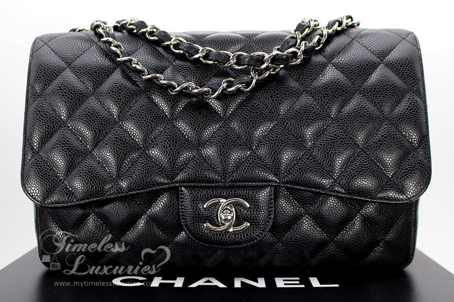 fdd57368394c21 CHANEL Black Caviar Jumbo Classic Single Flap Silver Hw #13577355 -  Timeless Luxuries