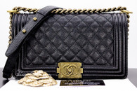 CHANEL 14B Black Caviar Boy Flap Bag Bronze Gold Hw #20010540
