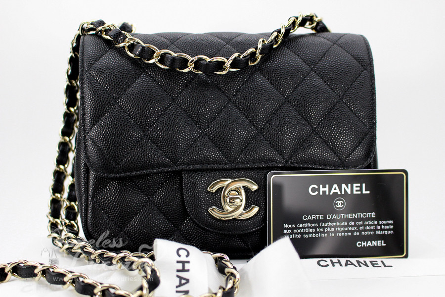 cfc4c895ec364f CHANEL 17C Black Caviar Square Mini Classic Lt Gold Hw #23503136 *New -  Timeless Luxuries
