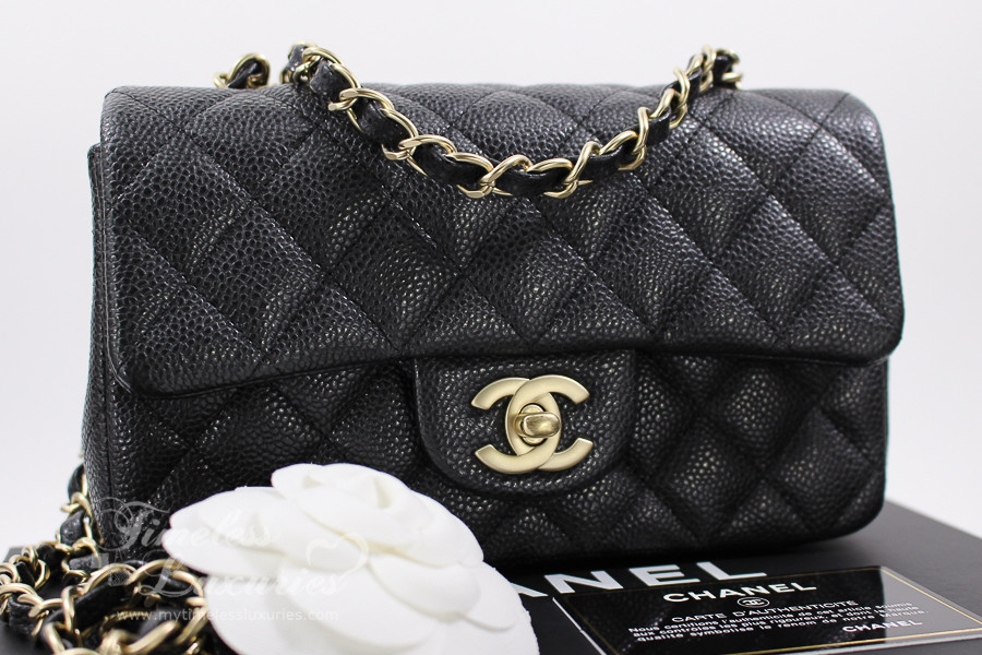 f52350667a9d6d CHANEL Black Pearly Caviar Rectangle Mini Classic Matte Gold Hw #20619533  *New - Timeless Luxuries