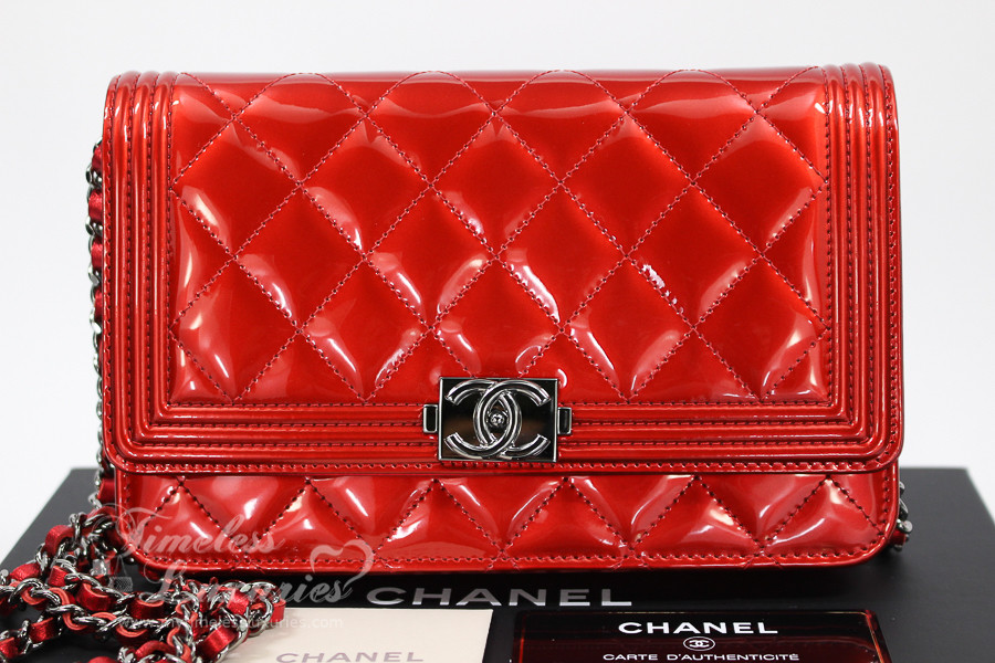 978e825e56c4 CHANEL Red Metallic Patent Quilted Boy Wallet on Chain WOC 19503024