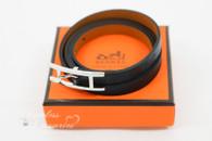 HERMES Hapi 3 MM Bracelet Black Chamonix Silver/ Palladium Hw *New