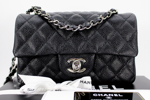 c08a41671a90 ... CHANEL Black Caviar Rectangle Mini Classic Flap Silver Hw #20103718  *New. Image 1