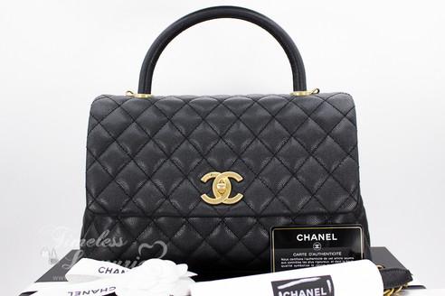 ea06a70ade8c CHANEL 17S Black Caviar Coco Handle Bag Gold Hw  23xxxxxx  New ...