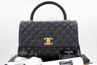 CHANEL 17S Black Caviar Coco Handle Bag Gold Hw #23xxxxxx *New