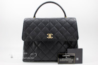 CHANEL Black Caviar Quilted Jumbo Kelly Flap Bag Gold Hw #7065876