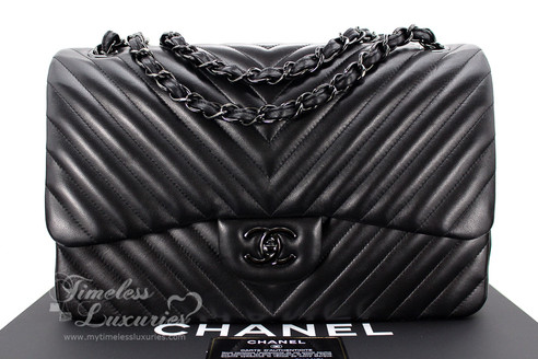 2aea0333d4be ... Classic Flaps; CHANEL 'So Black' Chevron Jumbo Double Flap Bag Black Hw  #20947666 *New. Image 1