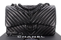 CHANEL 'So Black' Chevron Jumbo Double Flap Bag Black Hw #20947666 *New