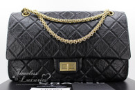 CHANEL Black Aged Calf 2.55 Reissue Flap 227 Gold Hw #12466364