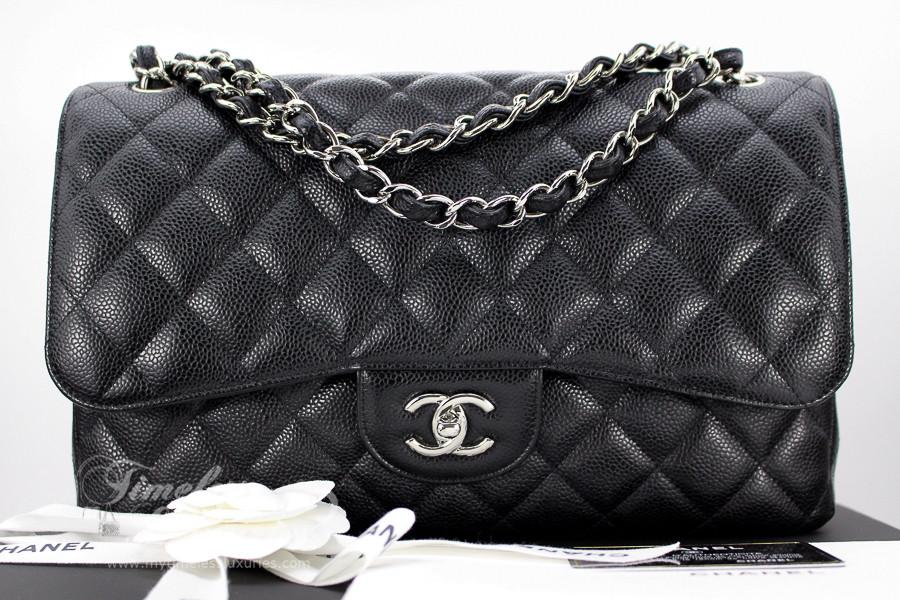 a8ebfc9658304f ... CHANEL Black Caviar Jumbo Classic Double Flap Bag Silver Hw #14989090.  Image 1