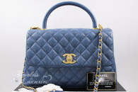 CHANEL 17S Blue Caviar Coco Handle Bag Gold Hw #23xxxxxx *New