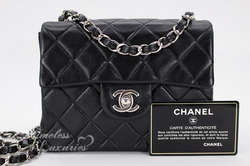 177cdd2ab611 CHANEL Black Lambskin Square Mini Classic Flap Bag Silver Hw ...