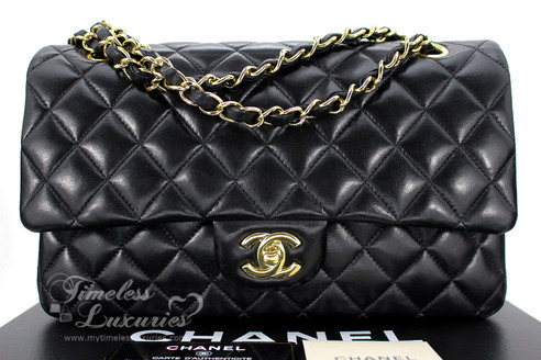 0e7c3744f80b ... CHANEL Black Lambskin Classic Double Flap Bag Gold Hw #14034416. Image 1