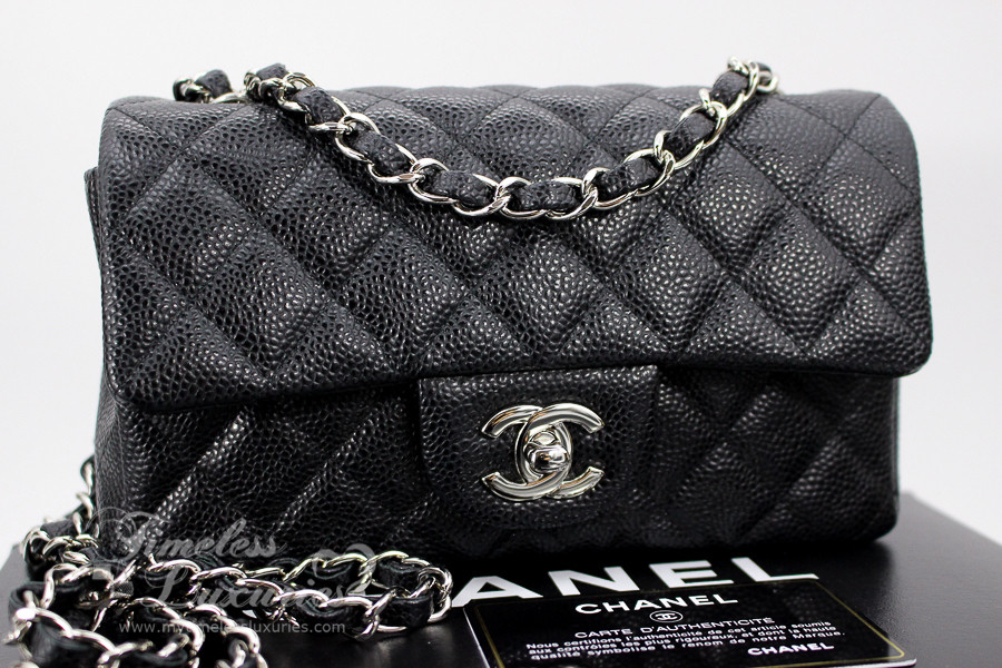 CHANEL Black Caviar Rectangle Mini Classic Flap Bag Silver Hw  20274195 -  Timeless Luxuries 44b8fe1522c70