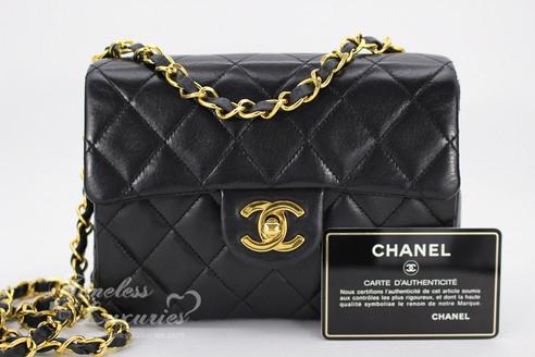 8e2845b9c76f ... CHANEL Black Lambskin Mini Classic Flap Bag Gold Hw #1698622. Image 1