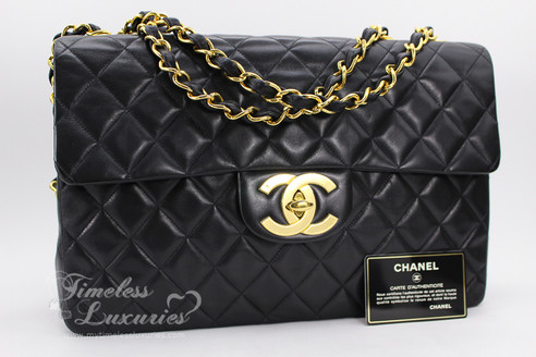 695382f50816 ... CHANEL Black Vintage Jumbo XL/ Maxi Classic Flap Bag Gold Hw #3280226.  Image 1
