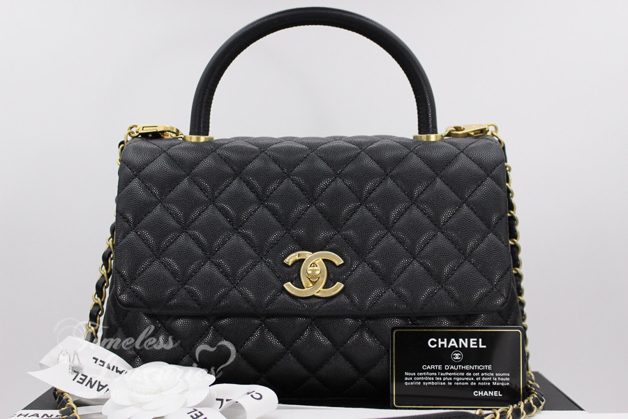 72584c1662 CHANEL 2017 Black Caviar Coco Handle Bag Gold Hw #24xxxxxx *New - Timeless  Luxuries