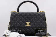 CHANEL 2017 Black Caviar Coco Handle Bag Gold Hw #24xxxxxx *New
