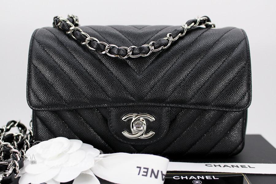 4aee4b8a1f82d CHANEL 2017 Black Caviar Chevron Rectangle Mini Silver Hw  23xxxxxx  New -  Timeless Luxuries