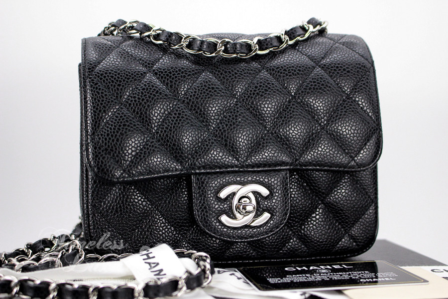 CHANEL Black Caviar Square Mini Classic Flap Bag Silver Hw  13893968 -  Timeless Luxuries 26c2cad35a289