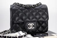 a1ad98f65d97 CHANEL Black Caviar Square Mini Classic Flap Bag Silver Hw #13893968