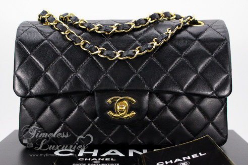 69d28b79a1a1 ... CHANEL Black Lambskin Classic Double Flap Bag Gold Hw #6436247. Image 1