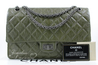 CHANEL Khaki Green Aged Calf 2.55 Reissue 226 Ruthenium Hw #15465855