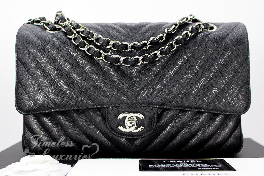 c1a2c38073fe0e CHANEL 2017 Black Caviar Chevron Classic Flap Silver Hw #23723786 *New -  Timeless Luxuries