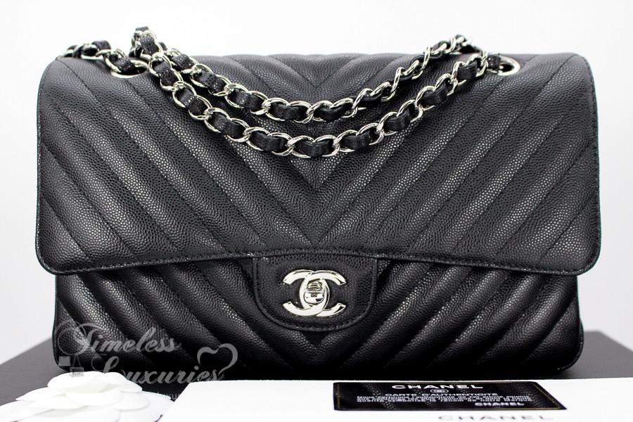 4ec67e70faa2 CHANEL 2017 Black Caviar Chevron Classic Flap Silver Hw #23723786 *New -  Timeless Luxuries