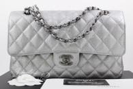 dc7b395604f3 CHANEL 2017 Pearly Silver Caviar Classic Flap Bag RHW  24198066  New