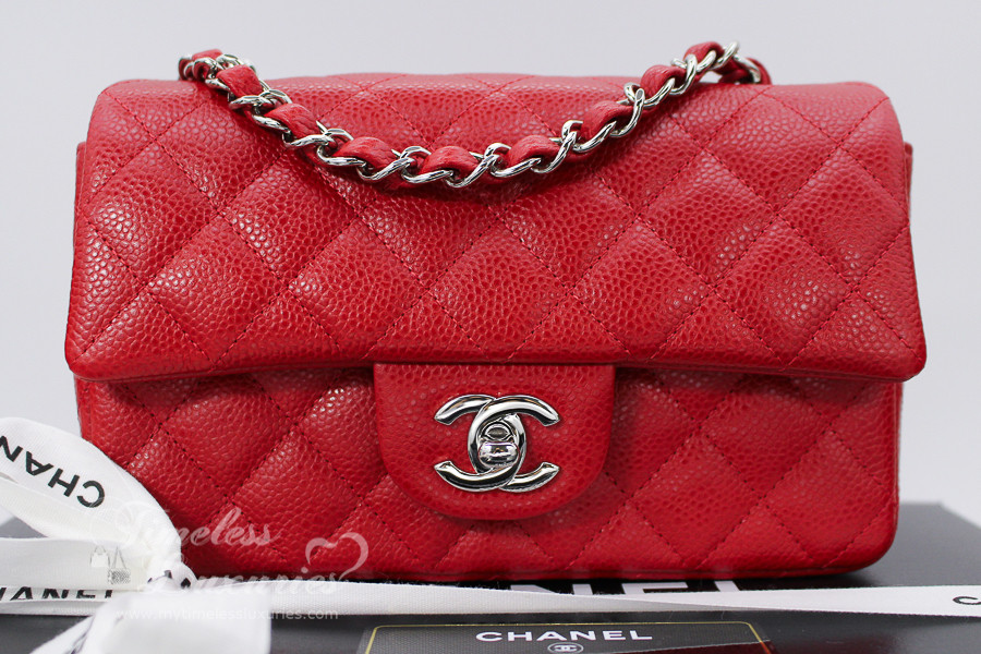 a01e98eab768 CHANEL Red Caviar Rectangle Mini Classic Flap Silver Hw  18864630  New -  Timeless Luxuries