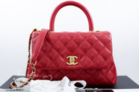 CHANEL 2017 Red Caviar Mini Coco Handle Bag Gold Hw #24233062 *New