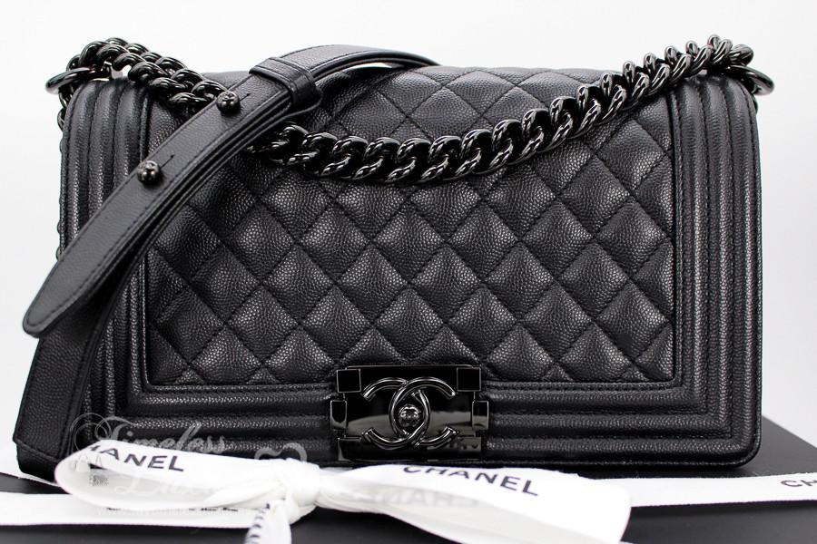 3efe23ebd446 CHANEL 17S  So Black  Iridescent Caviar Boy Black Hw  24034497  New -  Timeless Luxuries