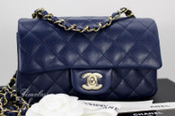 CHANEL 17B Navy Blue Caviar Rectangle Mini Flap Lt Gold Hw #24xxxxxx *New