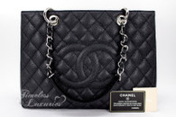 CHANEL Black Caviar Grand Shopping Tote GST Silver Hw #17262716 *New