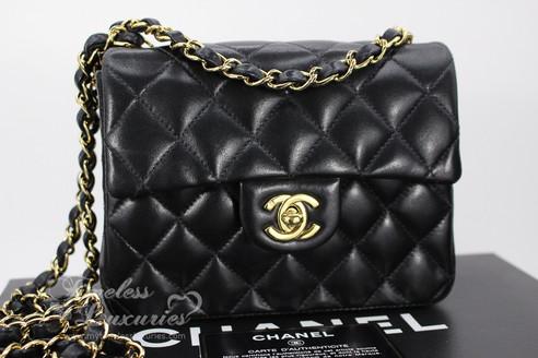 1d835ee45961 ... CHANEL Black Lambskin Mini Classic Flap Bag Gold Hw  8828402. Image 1