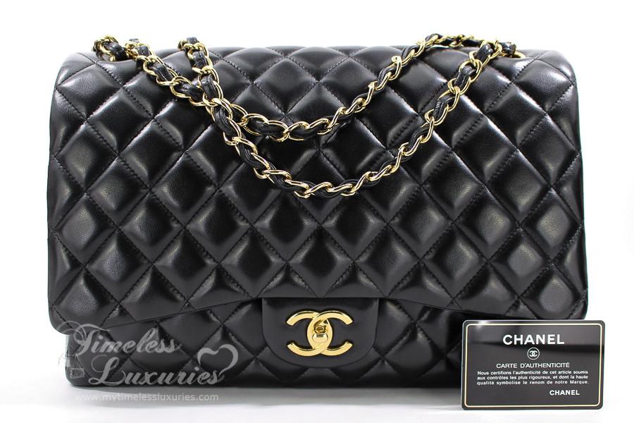 7b75b2edb513d0 ... CHANEL Black Lambskin Maxi Classic Double Flap Bag Gold Hw #14669081.  Image 1