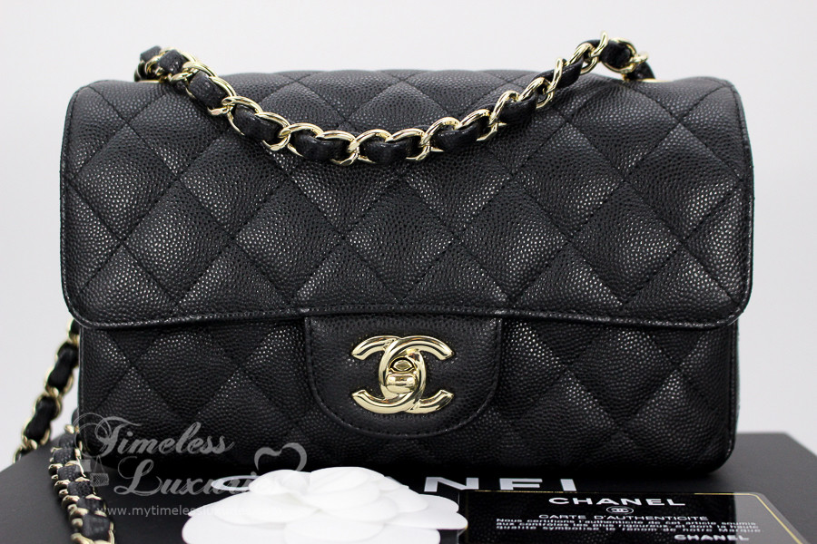 0dfcc1a25f8 CHANEL 17C Black Caviar Rectangle Mini Classic Lt Gold Hw  23548975 -  Timeless Luxuries